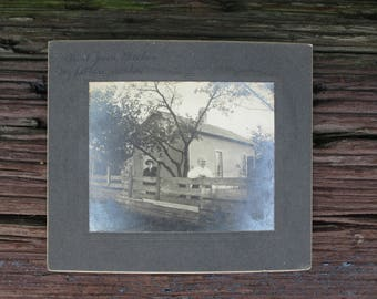 Vintage Black and White Photograph Victorian Old Man and Woman on Mat Board
