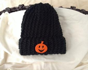 Halloween baby knit hat, Newborn pumpkin beanie hat with rim,Pumpkin knit baby hat, Halloween baby shower gift, Baby pumpkin knit hat