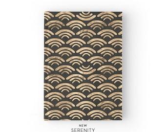 Hardcover Journal / Hardcover Notebook - Waves, Black, Gift for Her, NewSerenityStudio