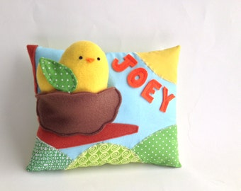 Custom Baby Name Pillow with Bird Plush Toy