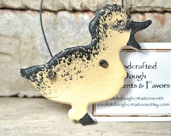 Easter Decoration Easter Duck Duckling Salt Dough Ornament Black and Yellow Duckling