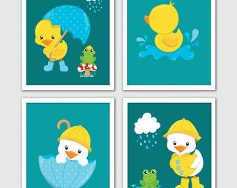 Rubber Duck Nursery Prints, Set Of 4, Yellow Duck Print, Duck Nursery Print, Baby Duck Art, Rubber Ducky, Nursery Duck, Rubber Duck Nursery