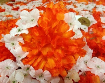 100 Jumbo Carnations Orange  Glow with Gyp  Artificial Silk Flower Pick