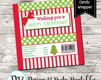Merry Christmas Candy Bar Chocolate Bar Wrappers Print Your Own INSTANT DOWNLOAD