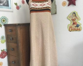 Vintage Tank Dress, Southwestern Style Sleeveless Dress, A-Line Midi Dress