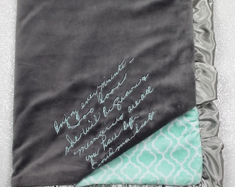 Special blanket, blanket with handwriting, minky blanket, personalized minky blanket, handwritten embroidery, memory blanket, memorial gift