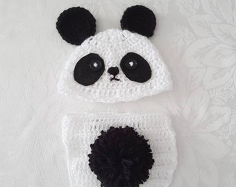 Cute Baby Panda Beanie and Nappy Cover