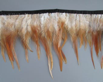 Top Quality Natural Hackle Feather Fringe sold by the metre for sewing costume millinery