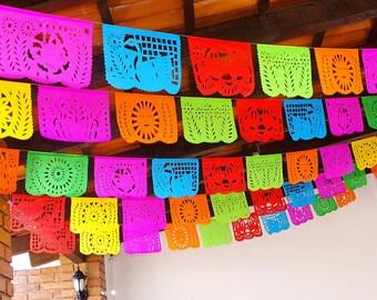 Cinco de Mayo, 5 Pack Banners, Paper Mexican Banner 12 ft Long, Aztec home decor, Paper picado Garland, Fiesta Decoration Papel Picado WS100
