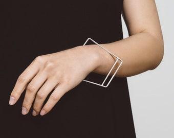Geometric Double-Bar Bangle | Sterling Silver | Bracelet | Handmade | Minimalist