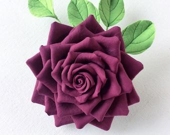 Burgundy rose.  Brooch. Polymer clay flower.
