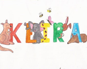 Handpainted watercolour personalised animal name picture