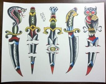 Daggers: Traditional Tattoo Flash Sheet