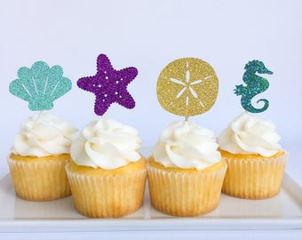 Under the sea cupcake toppers | Under the sea party | Mermaid party | First birthday | Baby Shower | Ocean party | Under the sea