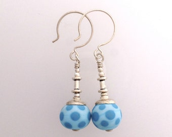 Blue Dot Lamp Work Earrings with Sterling Silver by Kate Drew-Wilkinson