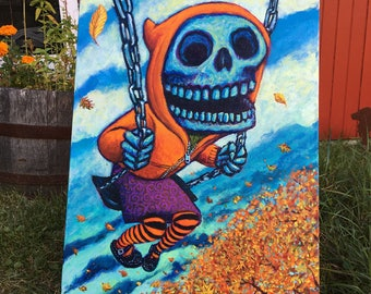Autumn Skeleton Girl on Swingset Original Painting by Mister Reusch