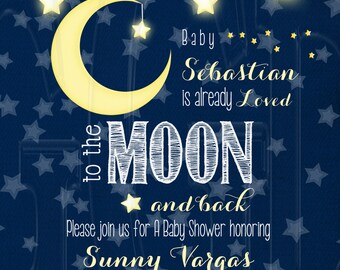 Moon Stars baby shower, loved to the moon invite, Stars baby shower, moon and stars theme, moon baby shower, moon stars invite -Digital File