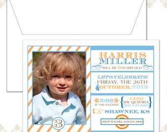 Striped modern photo Birthday Invitation