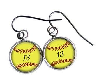 Softball Earrings, Personalized, Softball Gift, Sports Jewelry, Softball Mom, Softball Player