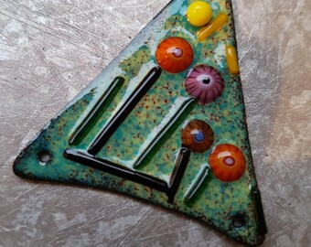 enameled copper pendant-connector with millefiori 3-hole for necklace.