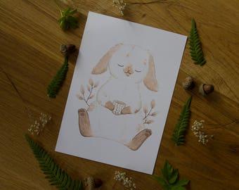 Bunny Tea Time - Art Print