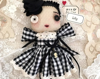 Art Doll : OOAK handcrafted doll from fabric and wire. Meet Lily, pretty in a black gingham dress with lace trim and a vintage heart cameo
