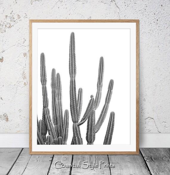Desert Cactus Print Black and White Succulent Print