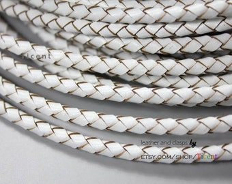 4mm Diameter Genuine Bolo Leather, White Leather Braided Bolo, Round Strand BP4M-33