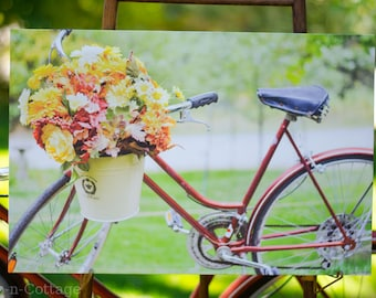 Vintage Schwinn bike with Fall Flowers Canvas 16 x 24 ~ Camp-n-Cottage Photography