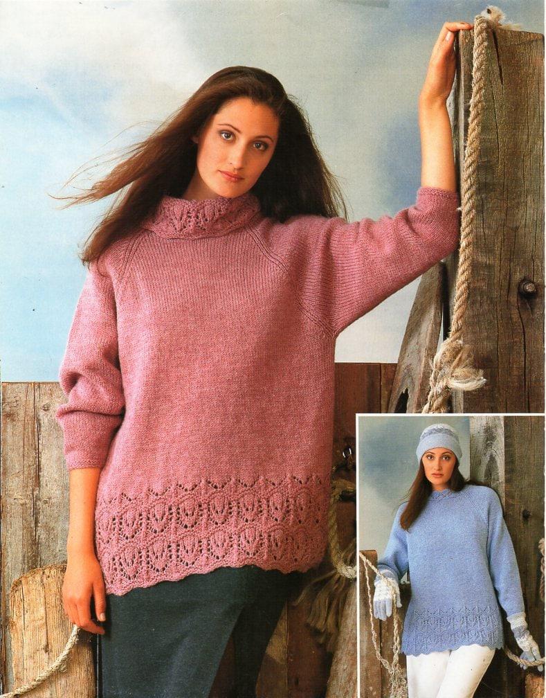 womens long lace border sweater knitting pattern PDF ladies loose ...