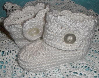 Custom Colored (NB-12 months) Crochet Girls Scalloped Wrap Baby Booties, Infant Booties, Baby Crib Shoes