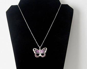 Purple Swarovski Butterfly Pendant Necklace, Butterfly Necklace, Purple Butterfly Necklace, Purple and Silver Butterfly Necklace