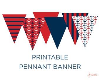 Printable Pennant Banner - Nautical Baby Shower - Nautical Pennant Banner - Nautical Decoration  - Triangle Banner