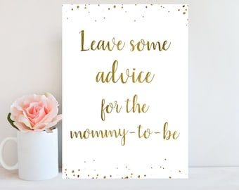 Printable Advice Sign, Baby Shower Advice, Leave Advice For the Mommy To Be, Gold Confetti, Advice Cards Baby Shower, Instant Download BBSG1