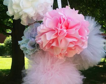 Light pink grey white fabric pom poms tulle pom poms Nursery hanging decorations baby shower and more