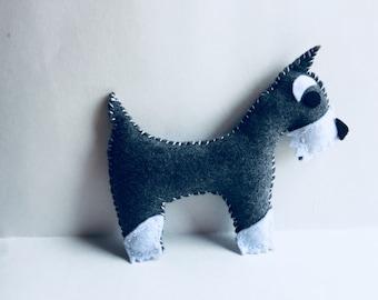 Felt Schnauzer Dog