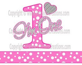 "DIY Printable ""I'm One"" Iron On Transfer (PNG Digital Image)"