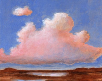 Pink Clouds - Original Landscape Painting on Canvas 8x8 Big Sky Horizon Cloud Blue Skies
