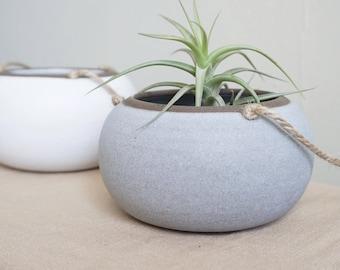 Zen Small Hanging Planter - Matte Grey