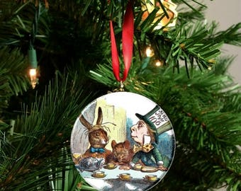 """Classic Alice in Wonderland Mad Hatter Tea Party 2.25"""" Ornament"""