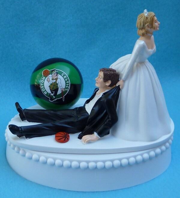 Wedding Cake Topper Boston Celtics Basketball Themed w/ Bridal