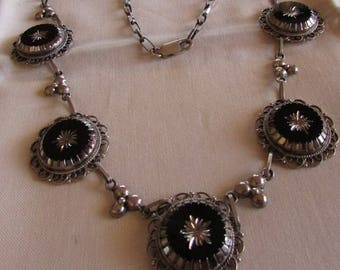 Sterling Silver and Black Necklace