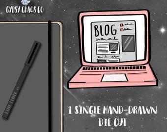 Blog Laptop Hand-Drawn Die Cut - DC47