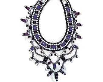 PURPLEPOLUZA hand painted rhinestone super statement necklace