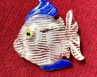 Vintage Carved Fish Brooch Lucite and Blue Large