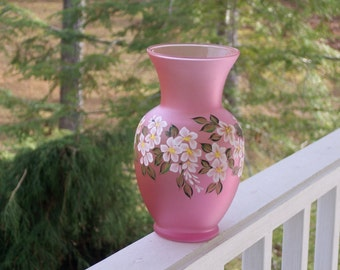 Hand Painted Pink Glass Vase with White Cascading Flowers