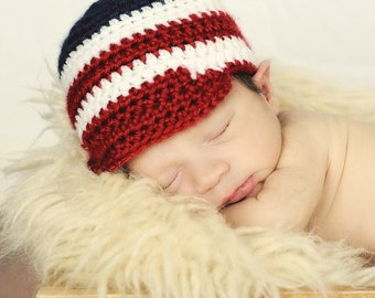 Crochet Patriotic Hat - Fourth of July baby hat -  red, white and blue Newsboy hat - 4th of July baby hat - Baby photo prop - Memorial Day