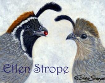 PRINTS, birds, quails, quail decor, bird decor, giclee prints, cabin decor, home decor, Ellen Strope, castteam