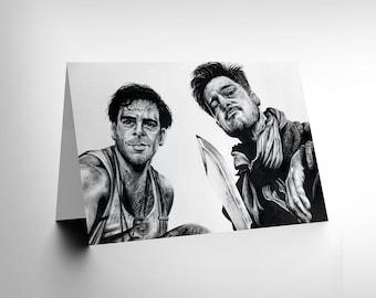 Inglorious Basterds Card - Brad Pitt Art by Wayne Maguire Blank Card CL1901