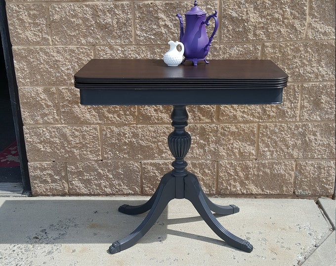 PICK UP ONLY, Vintage shabby chic expandable table, dark java finish, stained wood, server, rustic, farmhouse, distressed, country cottage